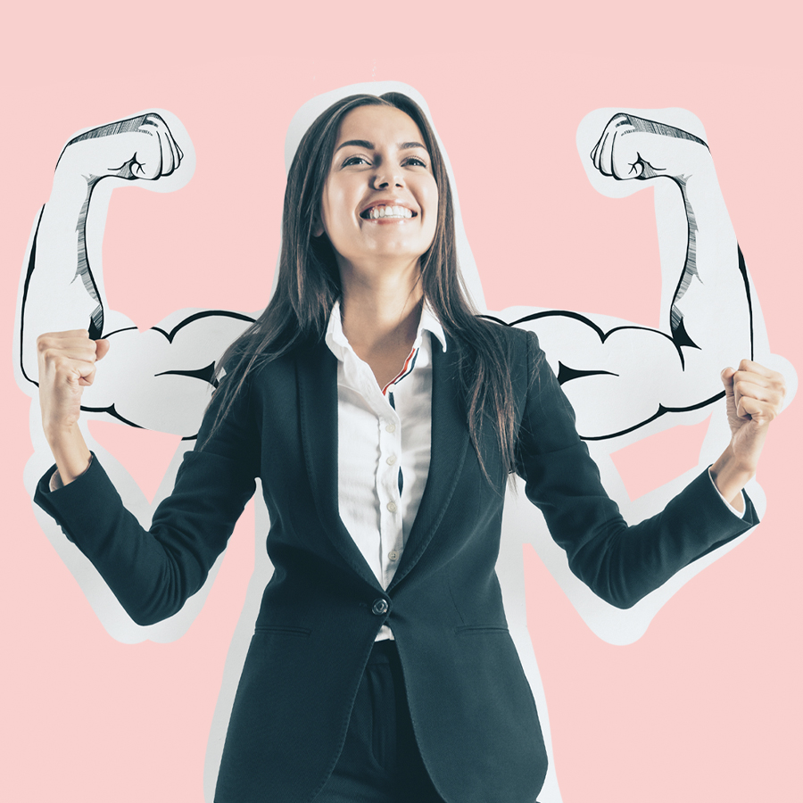 Business woman flexing her muscles